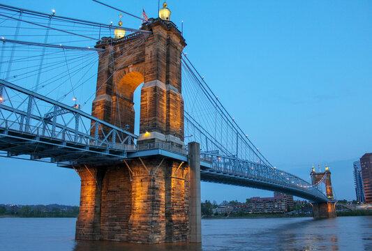 John A Roebling suspension bridge in Cincinnati, Ohio.