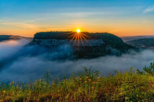 Sunrise At Letchwoth State Park In New York