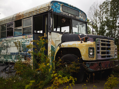 outside view of the front of an abandoned school bus