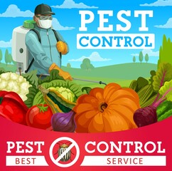 Agriculture pest control vector design with colorado beetle insect, vegetables and pest control service exterminator. Farmer spraying pesticide or herbicide with pump sprayer on farm field