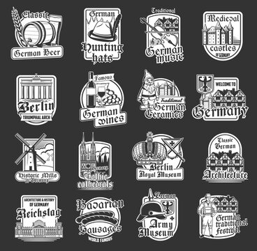 Germany isolated icons with vector German travel landmarks, beer and Bavarian sausage. Reichstag, timber framing building, Brandenburg Gate and hunting hat, wine, royal crown, gothic castle, cathedral