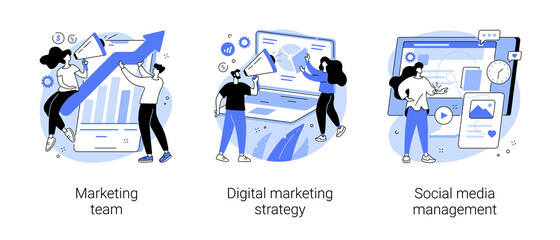Digital marketing strategy abstract concept vector illustration set. Marketing team, social media management, SMM, brand insight, campaign strategy development, online channels abstract metaphor.