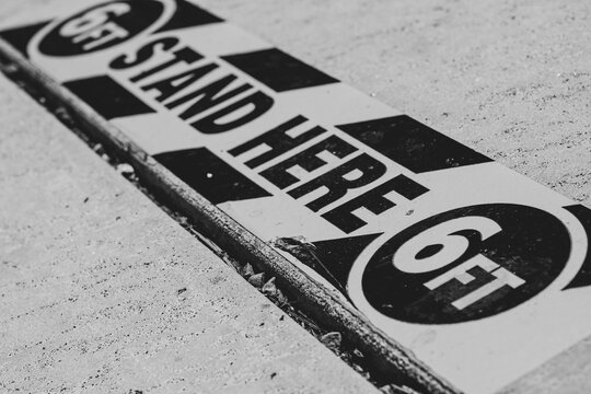 Social distancing 6ft sign floor sticker