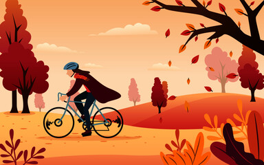 Vector Inspiration from an illustration of a man biking in an autumn afternoon with orange covering.