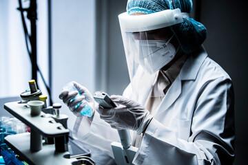 ウィルス分析用の機械を手に取る研究者