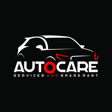 auto care logo automotive template modern sport car vector illustration with red color sticker or print art label design inspiration