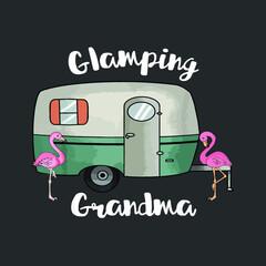 Glamping Grandma Camping Rv Flamingos new design vector illustrator