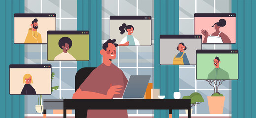 businessman chatting with mix race colleagues during video call business people having online conference meeting communication concept office interior horizontal portrait vector illustration