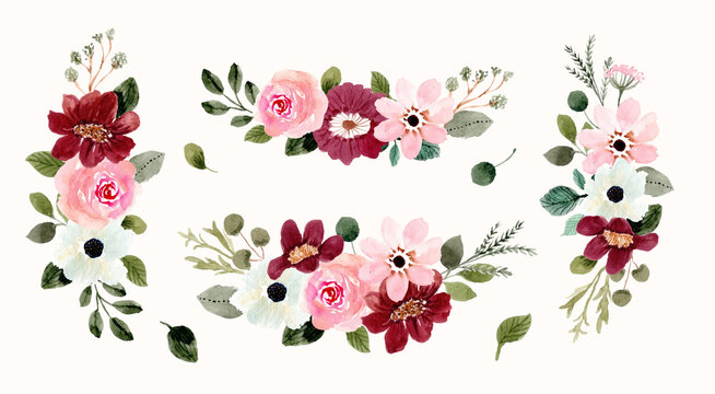 pink red floral arrangement bouquet watercolor collection