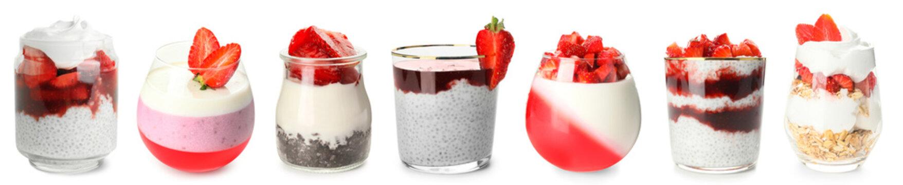 Tasty strawberry desserts in glassware on white background