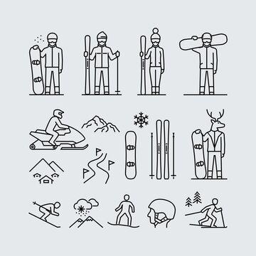 Winter sports outdoor activities vector line icons
