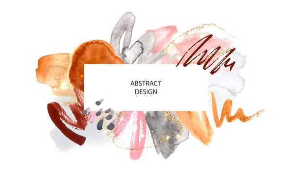 Abstract background with watercolor brush strokes and gold glitter.Modern fashion design, vector illustration