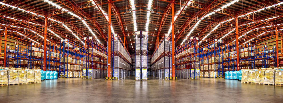 Warehouse industrial and logistics companies. Commercial warehouse. Huge distribution warehouse with high shelves. Bottom view.