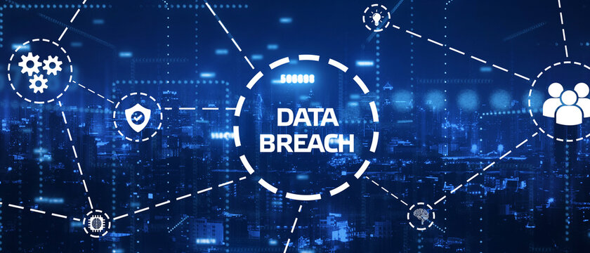 Business, technology, internet and networking concept. Data breach on the virtual display. 3D illustration.