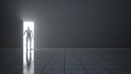 Humanoider Roboter kommt durch Tür rein