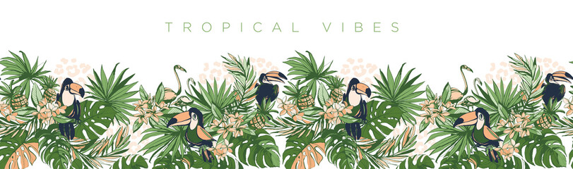 Vector illustration Tropical floral summer party poster invitation - fototapety na wymiar