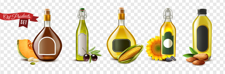 Realistic Oil Product Transparent Icon Set