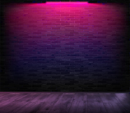 A room with a brick wall on which neon shines. Pink neon. Vector illustration