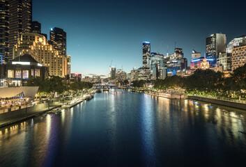 Fototapete - sunset, Yarra River, Melbourne, Victoria, Australia