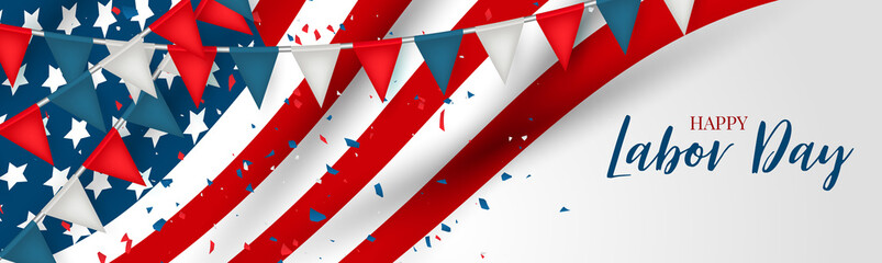 Labor Day banner or header. USA national federal holiday template design. American flag with red and blue bunting background. Realistic vector illustration.