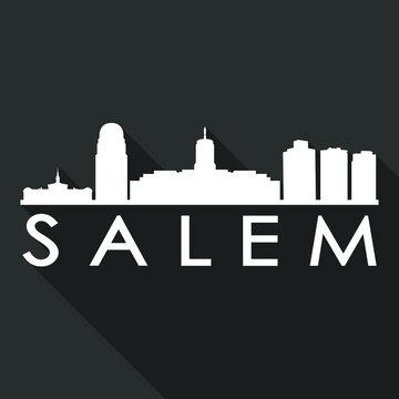 Salem Flat Icon Skyline Silhouette Design City Vector Art Famous Buildings.