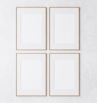 mockup poster frame on white wall, four wooden frame, 3d render