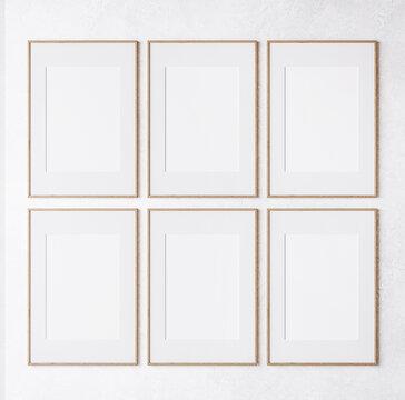 six wooden frame on white wall, frame mockup, 3d render