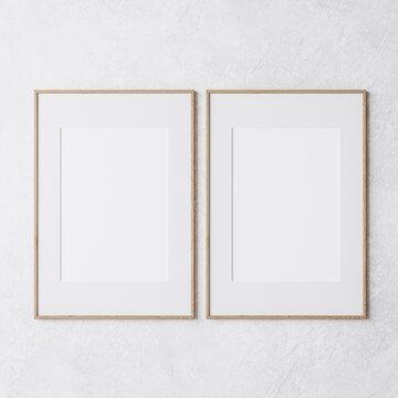 two wooden frame on white wall, frame mockup, 3d render