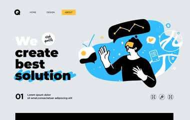 Presentation slide template or landing page website design. Business concept illustrations. Modern flat outline style. Research innovations and solutions