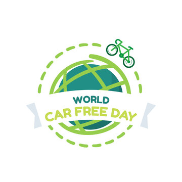 World car free day symbol vector design on white background