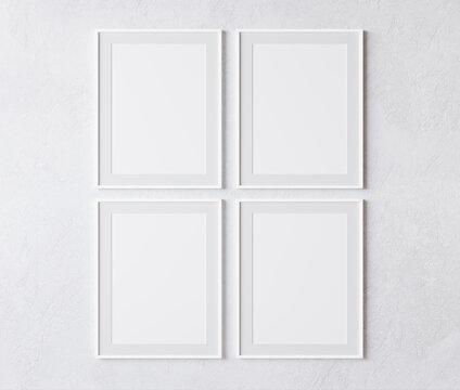 four vertical white frame on white wall, poster mock up, 3d illutation