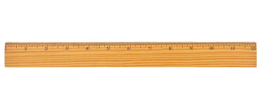 Retro wood 12-inch ruler isolated on white