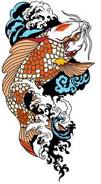 koi carp swimming upstream. Japanese gold fish with water waves. Vector illustration