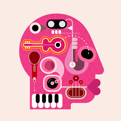 Human head shape design consisting with a different musical instruments vector illustration. Red silhouette on a light background.