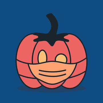 Cute cartoon pumpkin in medical protective masks halloween covid-19 concept coronavirus pandemic vector illustration