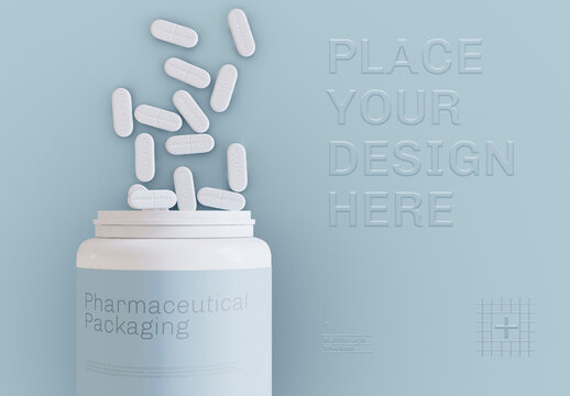 Bottle with Embossed Pills and Background Mockup