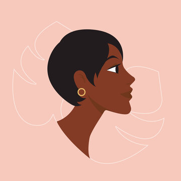 Profile portrait face young beauty black american woman with short dark hair and tropical exotic leaf monstera and earring. Vector isolated  flat illustration. Avatar of a afro silhouette girl.