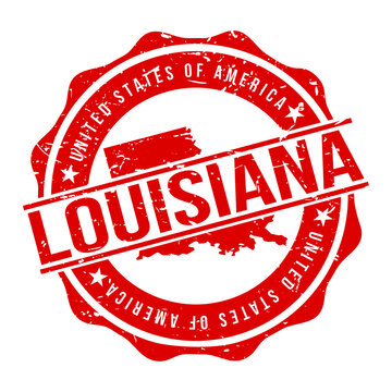 Louisiana America Original Stamp Design Vector Art Tourism Souvenir Round.