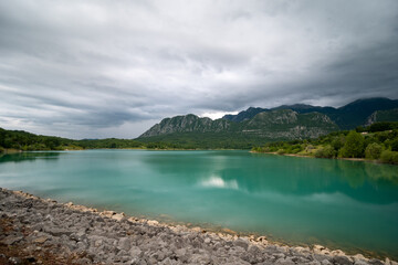 Lake of Castel San Vincenzo, an artificial basin in Molise, Italy