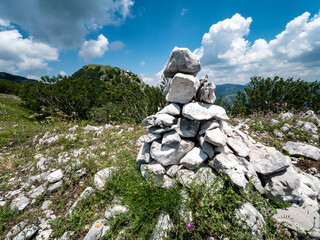 piles of stone arranged as a signpost on the path of Mount Accellica. Picentini Natural Park, Giffoni Valle Piana, Campania, Salerno, Italy