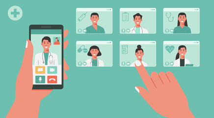 telemedicine concept, human hand holding smartphone using app for healthcare or online consultation on screen and choosing doctors for video call, vector flat illustration