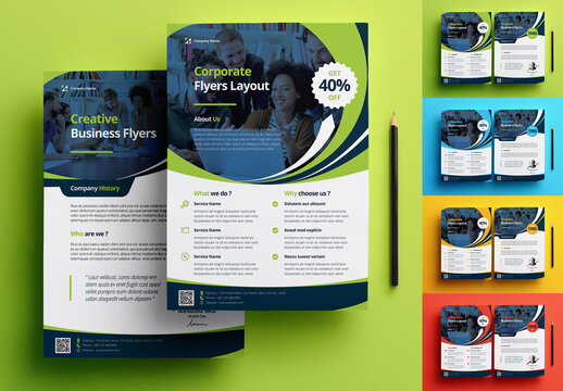 Business Flyer Layout with Colorful Elements