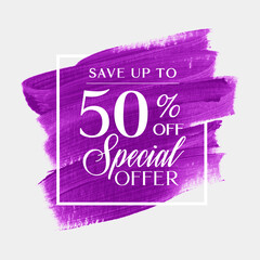 Sale special offer 50% off sign over art brush acrylic stroke paint abstract texture background vector. Perfect art design for a shop and sale banners.