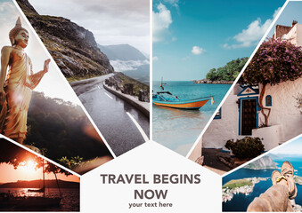 Travel collage. Europe and Asia, vacation adventure concept. Can used for cover design, brochures, flyers. With space for text