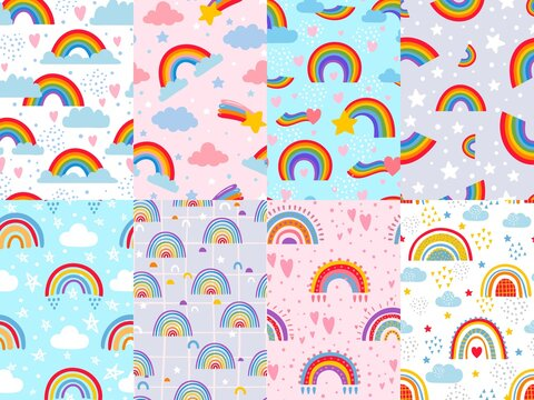 Seamless rainbow pattern. Stars, clouds and rainbows in sky, colorful arc decoration backdrop vector illustration set. Design in pastel colors for childrens room, textile and fabric