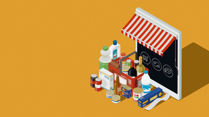 Online virtual store and grocery shopping items