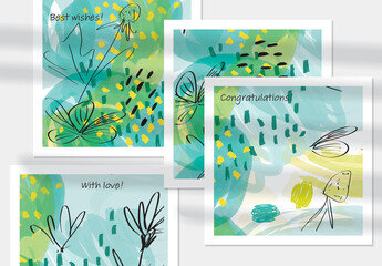 Card Layout with Sketched Garden Floral on Green Doodles
