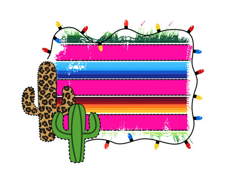 Festive frame with a cactus tree and Serape fabric and garland with light bulbs. Vector illustration.