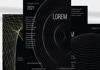 Striped Globe Vertical Flyer Layout Geometric Wireframe Shape on Black