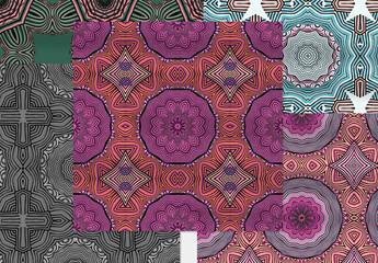 Seamless Pattern Collection Square with Mandala Motifs